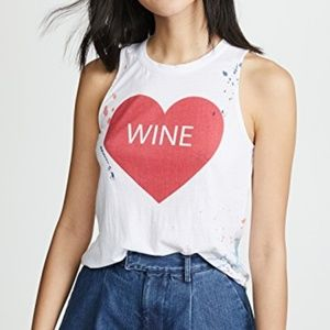 Chaser Tops - Chaser | NWT Heart Wine Paint Splattered Tank Top